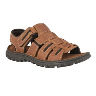 Lotus Doyle Mens Tan Leather Velcro Sandals